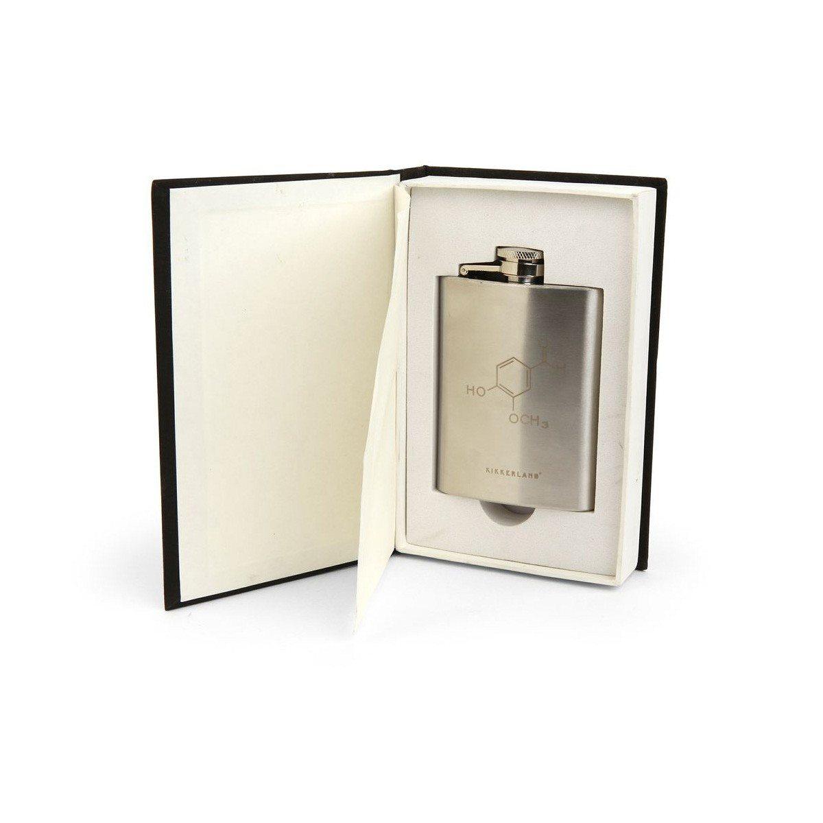 De chemische samenstelling van alcohol – zakflacon in boek