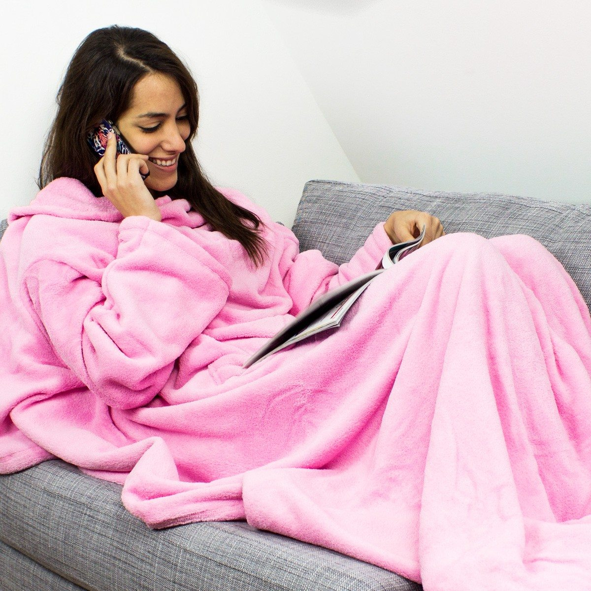 Fleece deken met mouwen