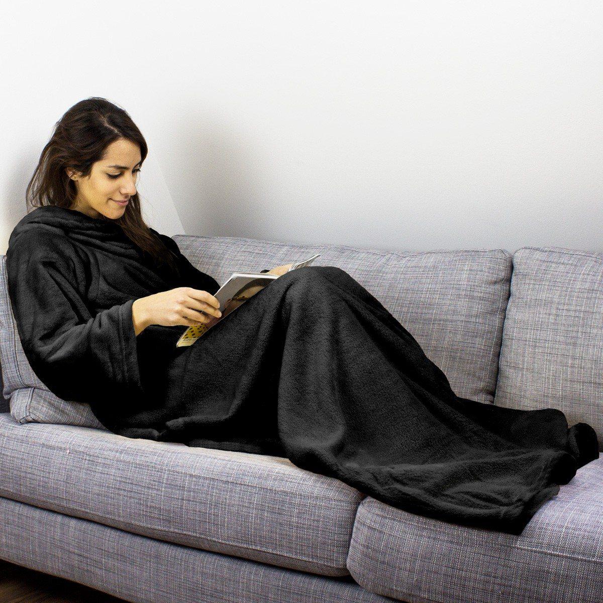 snuggy fleecedeken met mouwen. Black Bedroom Furniture Sets. Home Design Ideas