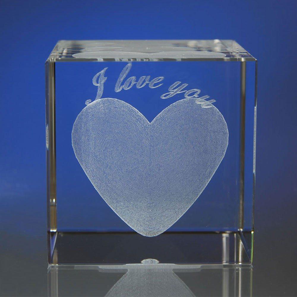 """Glasblok """"I love you"""" met persoonlijke tekst"""