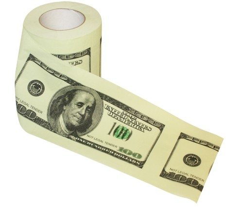 Honderd Dollar biljet toiletpapier