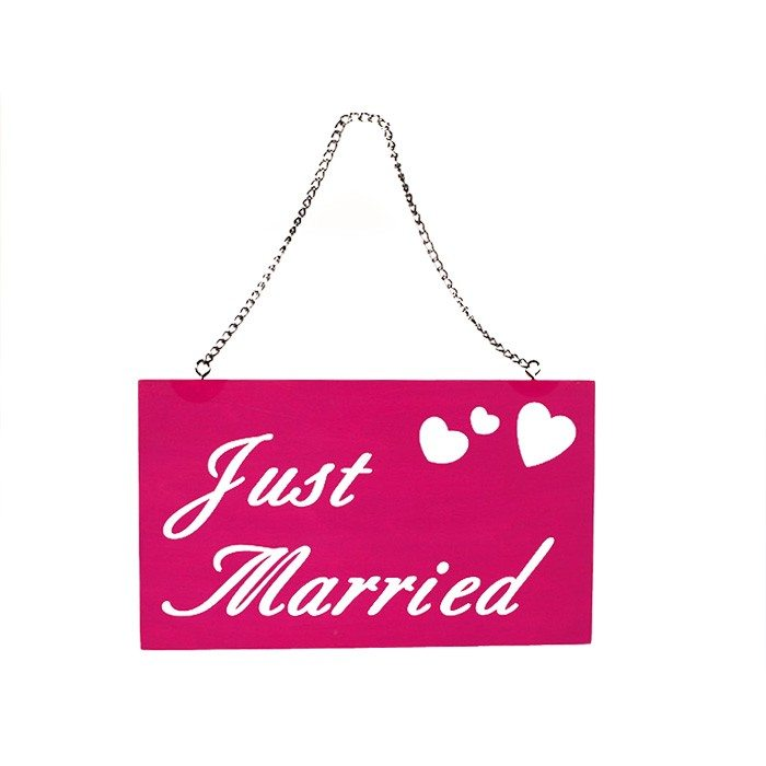 Houten bordje ''Just Married''
