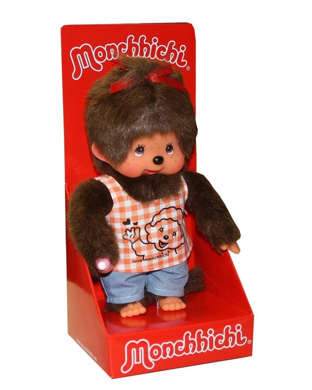 Monchhichi pop meisje met oranje shirt, 20 cm