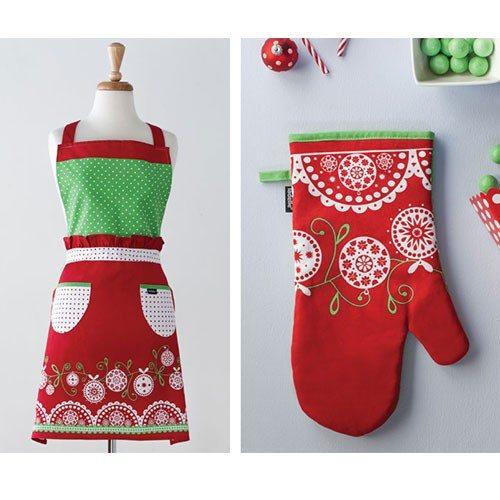 """Mooi schort en ovenhandschoen """"kerstbetovering"""""""