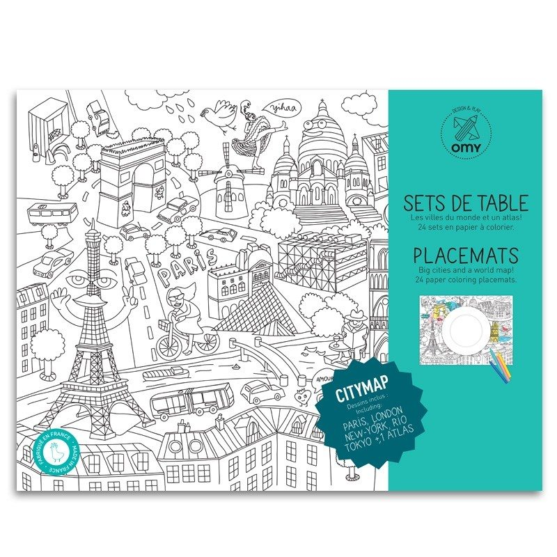 placemats 39 city map 39 om zelf in te kleuren. Black Bedroom Furniture Sets. Home Design Ideas