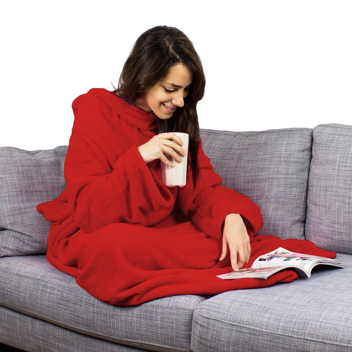 heerlijk het najaar in met dit fleece deken met mouwen. Black Bedroom Furniture Sets. Home Design Ideas