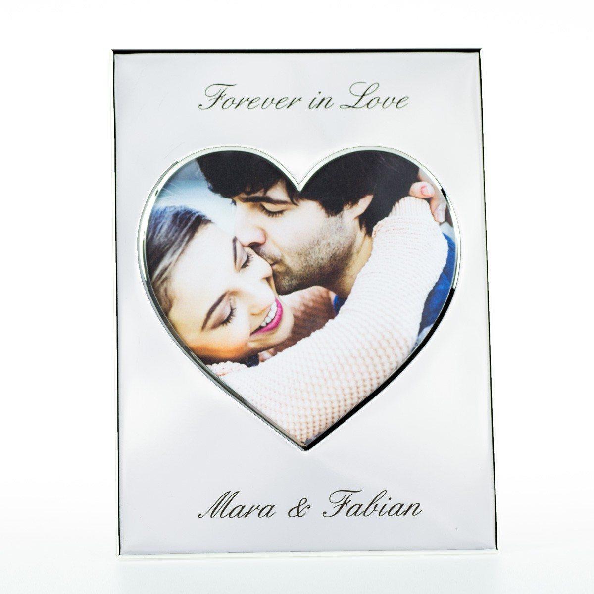 Verzilverde hart-fotolijst met gravure