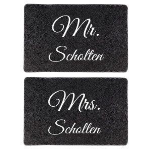 2er Set: Tischuntersetzer aus Filz - Mr. & Mrs. NL