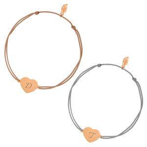 Armband met zilveren hartje en initialen (roségoudkleurig) keuze uit beige of grijd
