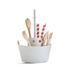 """Bestek- en servettenhouder """"Dinner Boat"""" ontwerp"""