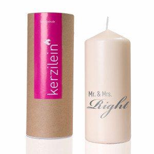 """Hochzeitskerze """"Mr. & Mrs. Right"""""""