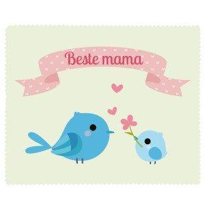 Brillenputztuch mit Vögeln zum Muttertag