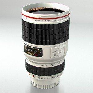 Camera objectief - drinkbeker wit
