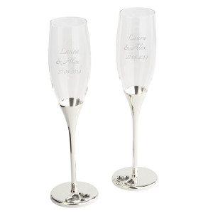Champagneglazen met gravure
