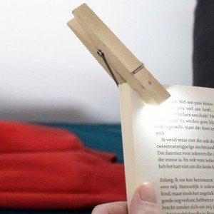 Clip leeslampje wasknijper