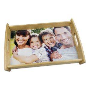 Dienblad van hardhout met foto