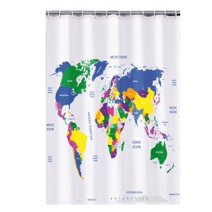 Douchegordijn wereldkaart