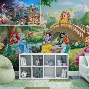 Fotobehang voor kinderen - prinses en kasteeldieren