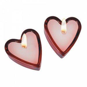 Geurkaarsen in hartvorm, set van twee