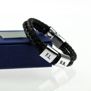 Gevlochten leren armband met initialen - stijlvol cadeau