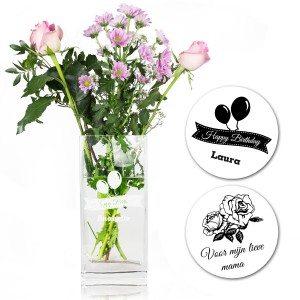 Glazen bloemenvaas met persoonlijke gravure