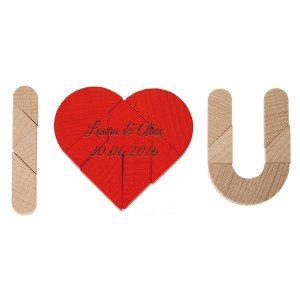 """Gutschein-Puzzle """"I ♥ U"""" – mit oder ohne Gravur"""