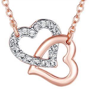 Halsketting met dubbel hart en Swarovski-kristallen