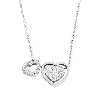 Halsketting met zirkonia-hartjes en gravure - persoonlijke cadeautip