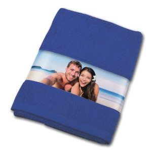 Handdoek met fotoborduursel - donkerblauw
