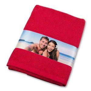 Handdoek met fotoborduursel - rood
