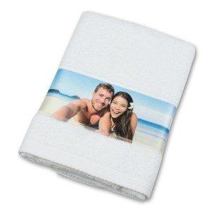 Handdoek met fotoborduursel - wit