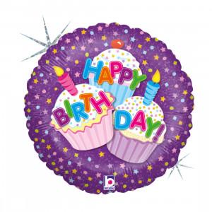 """Heliumballon """"Happy Birthday-cupcakes"""""""