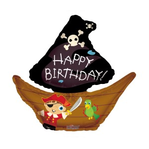 "Heliumballon ""Happy birthday"" (piratenboot)"