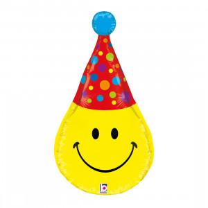 """Heliumballon """"Smiley met feestmutsje"""""""