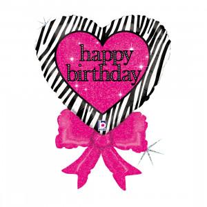 """Heliumballon """"Verjaardagshart"""" met strik"""