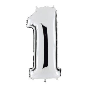 """Heliumballon """"Zilveren getal"""" - 4"""