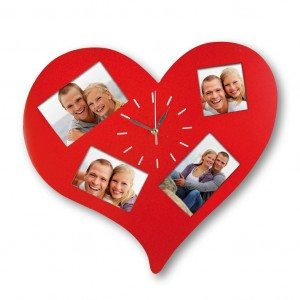 Herz-Wanduhr mit Bilderrahmen