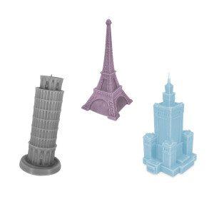 """Kaars """"Monumentaal gebouw"""" - paarse Toren van Pisa - zijzicht"""