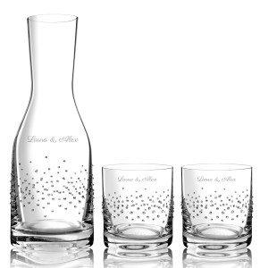 Karaf met glazen en Swarovski-kristallen en optionele gravure