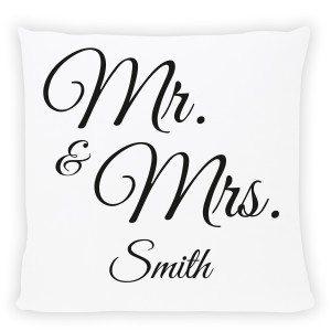 """Kissen mit Druck """"Mr. & Mrs."""""""