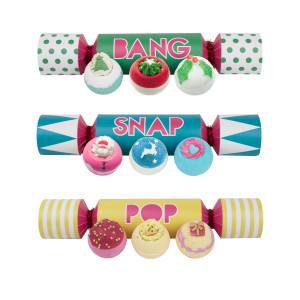 Knalbonbon met 3 design-badballen van Bomb Cosmetics