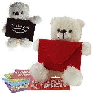 Knuffelbeer met boodschap voor communie of belijdenis