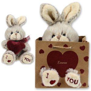 "Knuffelhaas met naam en ""I love you"""