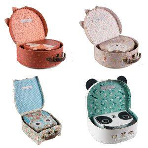 Koffertjes met dierendesign (set van 2) - keuze uit vos, kat, panda of uil