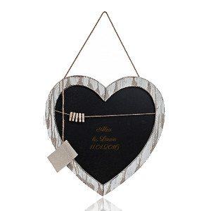 Krijtbord in hartvorm met gravure
