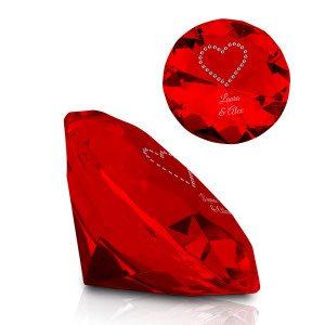 Kristallen diamant met Swarovski-hart & gravure - rood