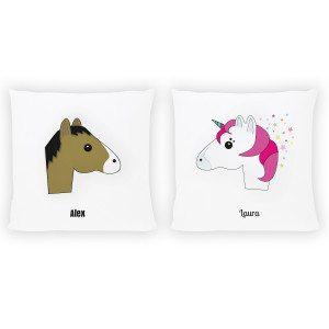 Kussen met paard of eenhoorn en naam - cadeautip
