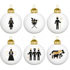 """Minimalistische kerstballenset """"Helige nacht"""""""