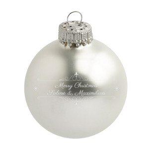 Personaliseerbare kerstbal in klassiek zilver design
