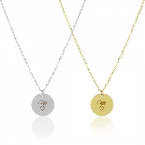 PERSONALIZED ANOA SMALL DISC NECKLACE